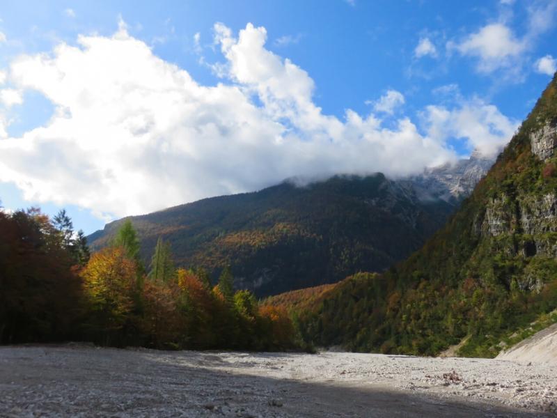 Dolomiti Friulane, nella strada della Val Cimoliana con i boschi d'autunno